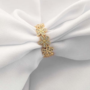 18K Gold Plated Flowers Ring With Stones