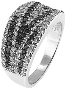 Special Sterling Silver S925 Ring with Black and Clear Stones