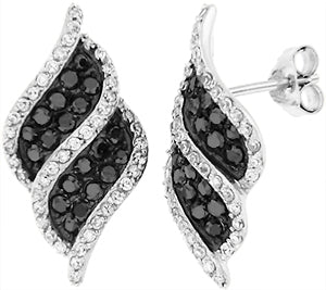 Special Sterling Silver S925 Earrings with Black and Clear Stones