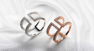 S925 Sterling Silver Open Ring 18K Rose Gold/Rhodium Plated