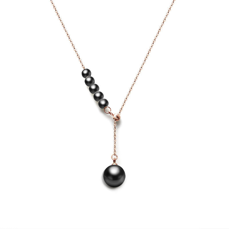 Black Stone Necklace (18K Rose Gold Plated)