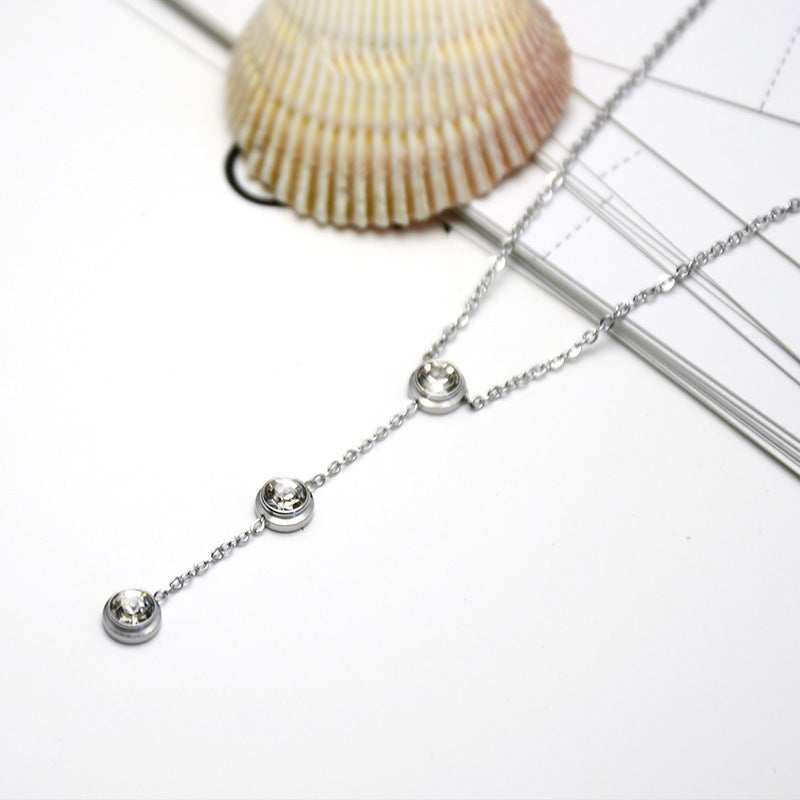 3 Stones Necklace (Rhodium Plated)