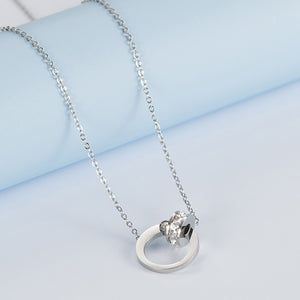 Hug Silver Necklace (Rhodium Plated)
