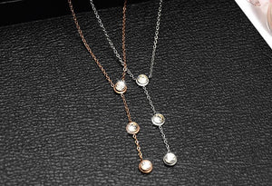 3 Stones Necklace (18K Gold Plated)