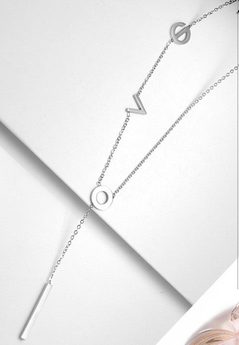 Long Love Necklace (Rhodium Plated)