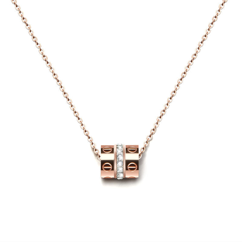 Triple Rings Necklace (18K Rose Gold Plated)