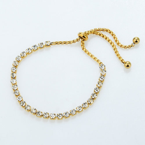 18K Gold Plated Tennis Style Bracelet with Clear Charming Stones