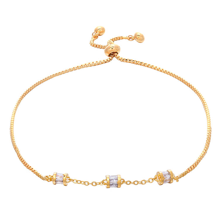18K Gold Plated Venice Stylish Bracelet with 3 Clear Stones
