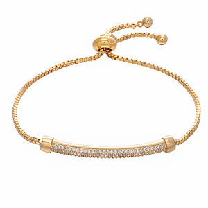 18K Gold Plated Stylish Bracelet with Clear Charming Stones