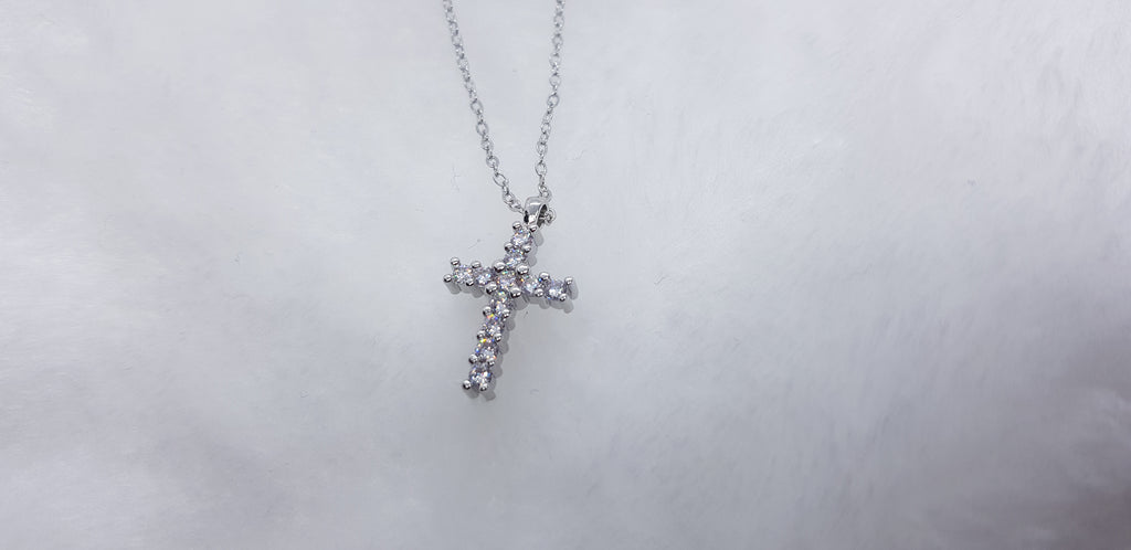 Silver Cross with Stones Necklace (Rhodium Plated)