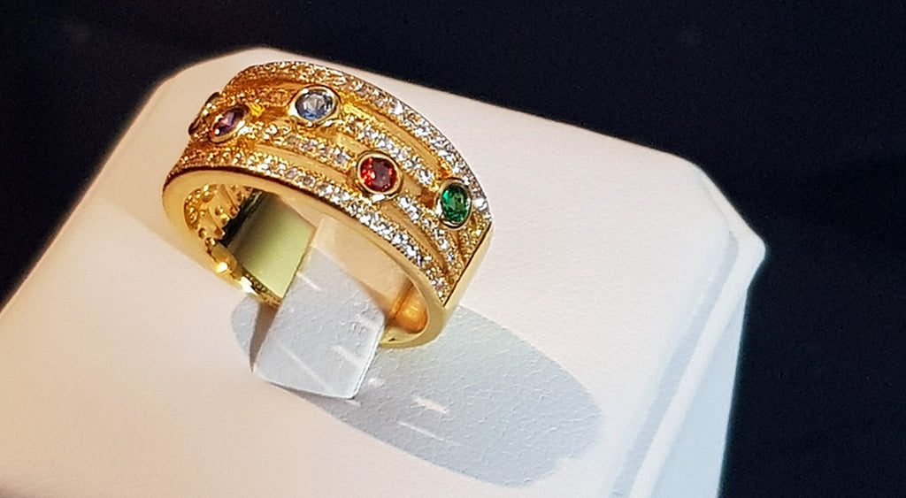 18K Gold Plated Ring With Coloured Stones