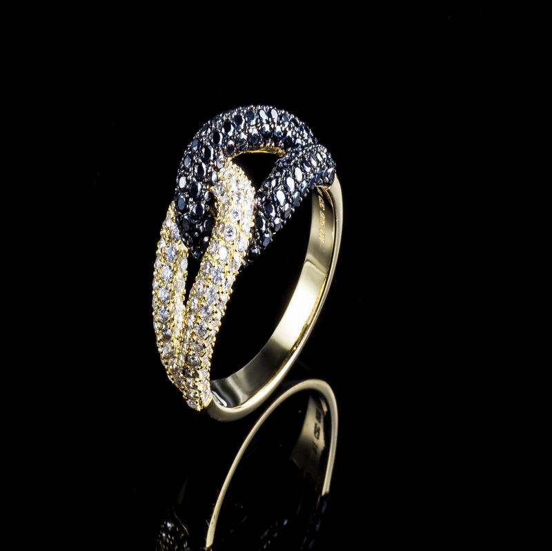 S925 Sterling Silver Black and White Gold Ring (18K Gold Plated)