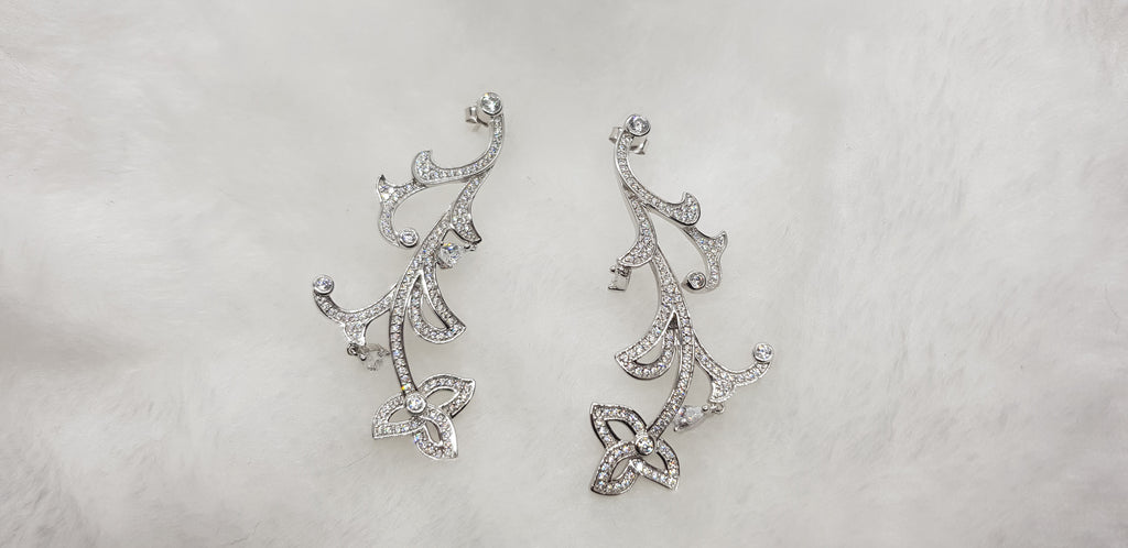S925 Sterling Silver Night Fashion Earring (Rhodium Plated)