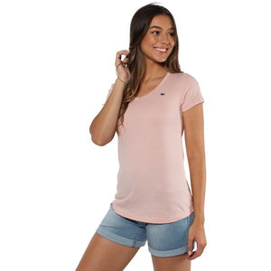 Ringers Western | Womens | Tee Relaxed V | Signature | Dusty Pink with Blue Nights Print