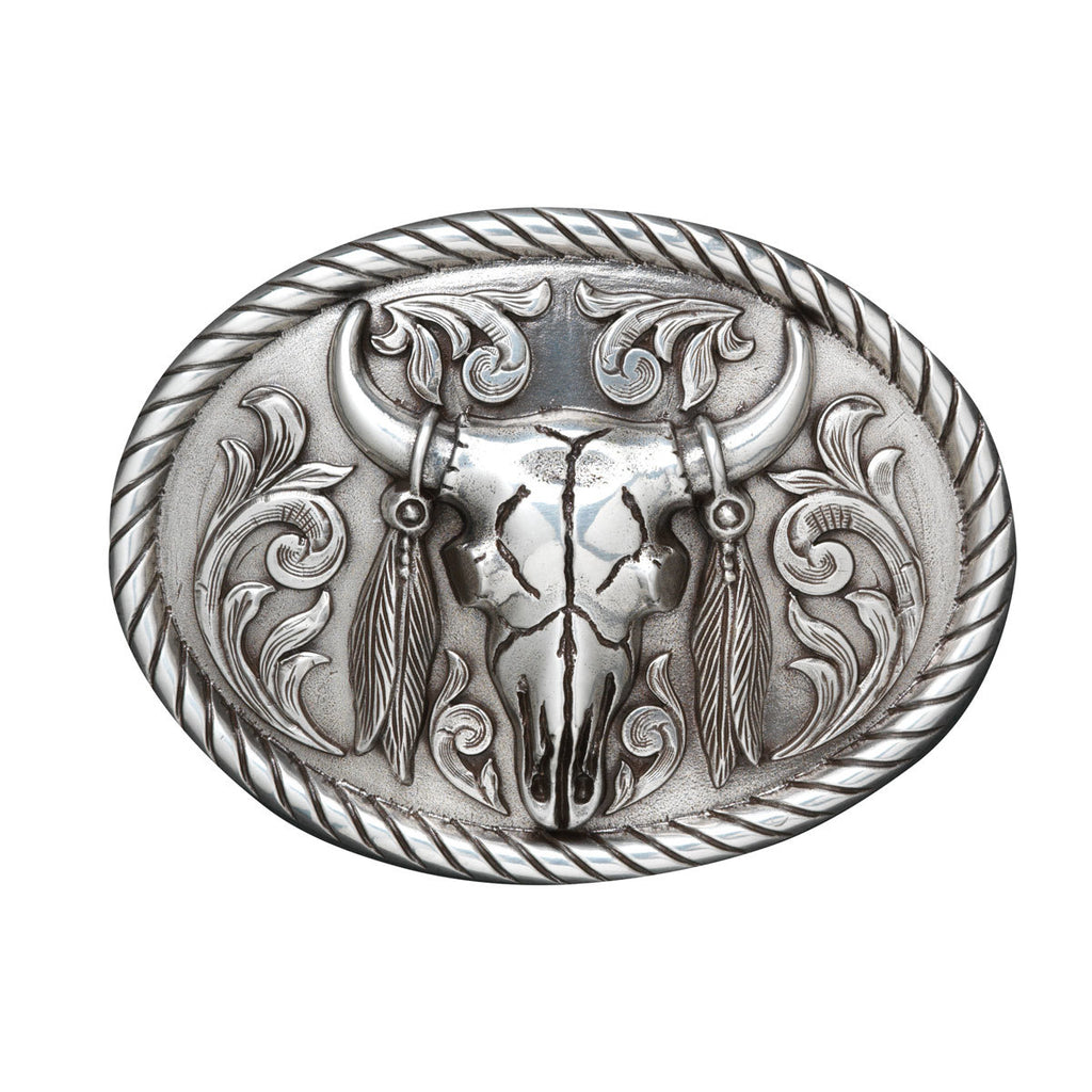 Horesman | Mens | Belt | Buckle | Skull Feathers Oval