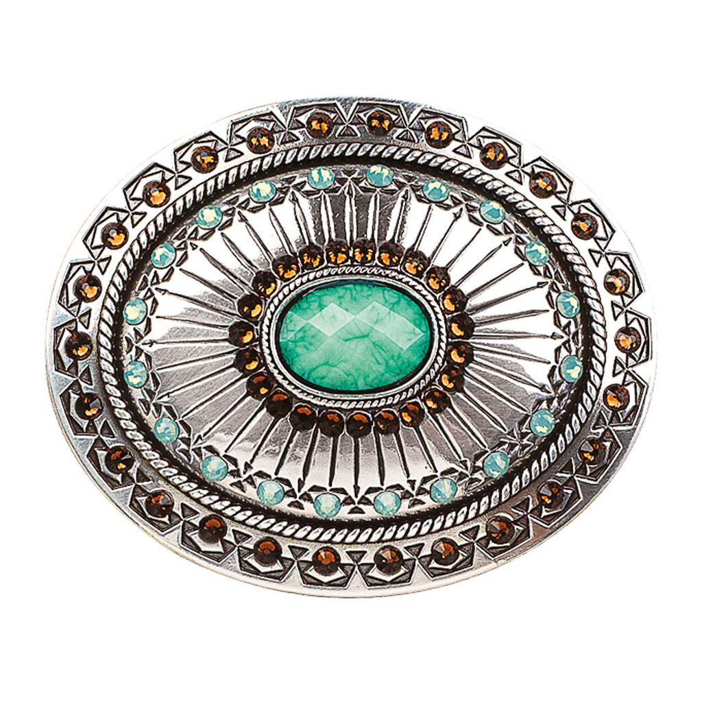 Horesman | Womens | Belt | Buckle | Tribal Stamp Turquoise & Crystal