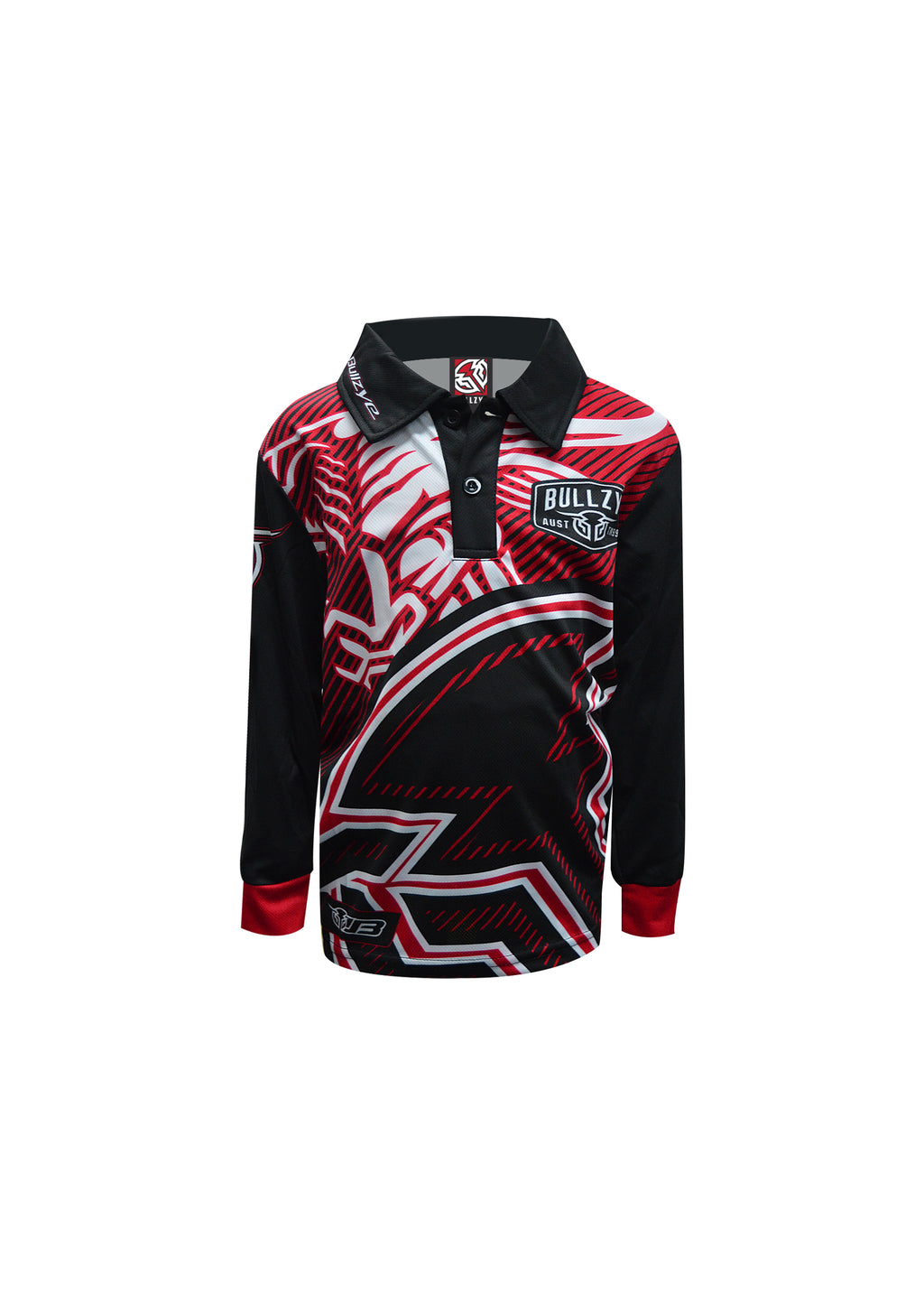 Bullzye | Kids | Fishing Shirt | Charging Bulls | Red