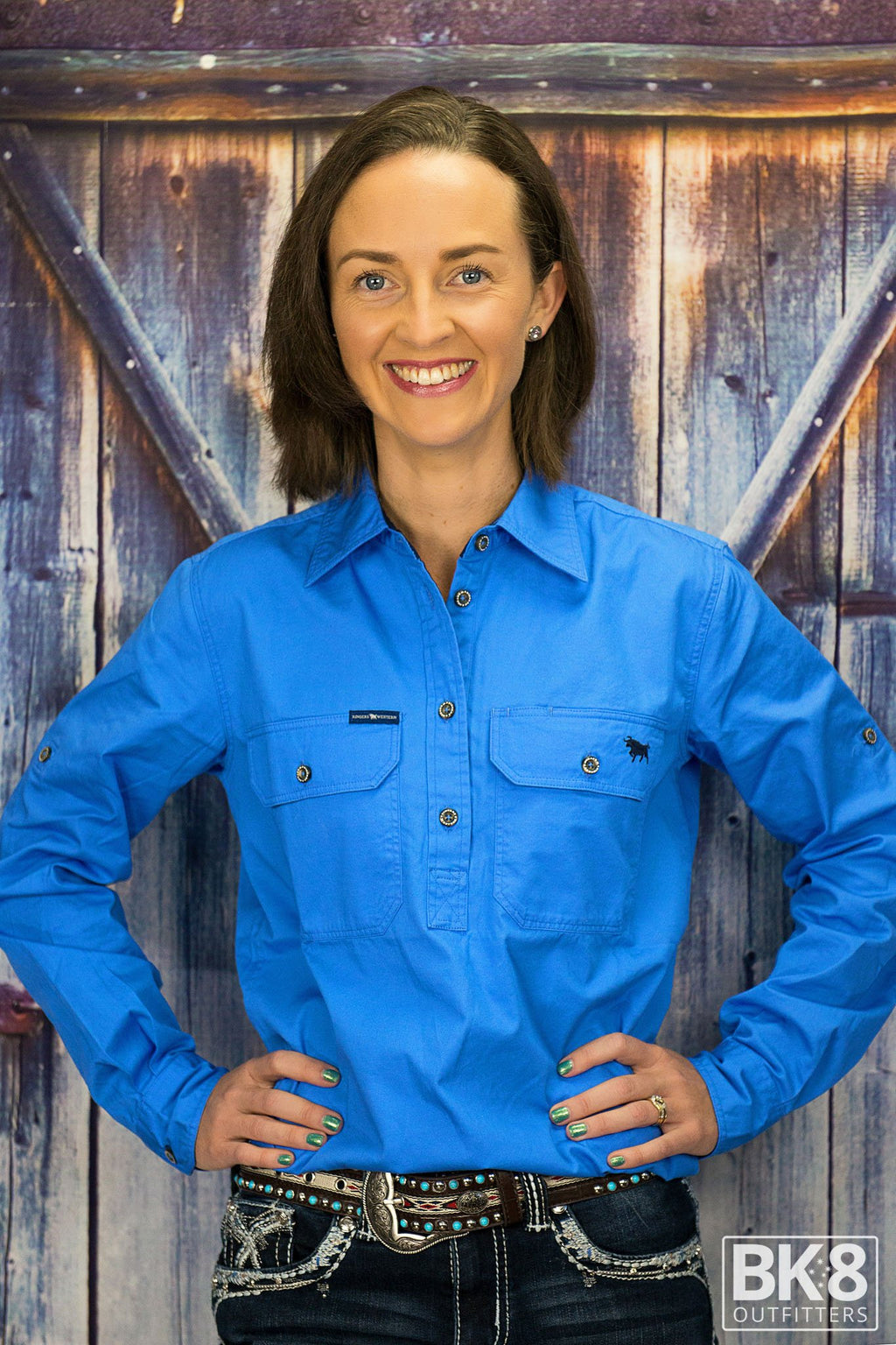 Ringers Western | Womens | Work Shirts | HALF Button | Long Sleeve | Pentecost | Blue - BK8 Outfitters Australia