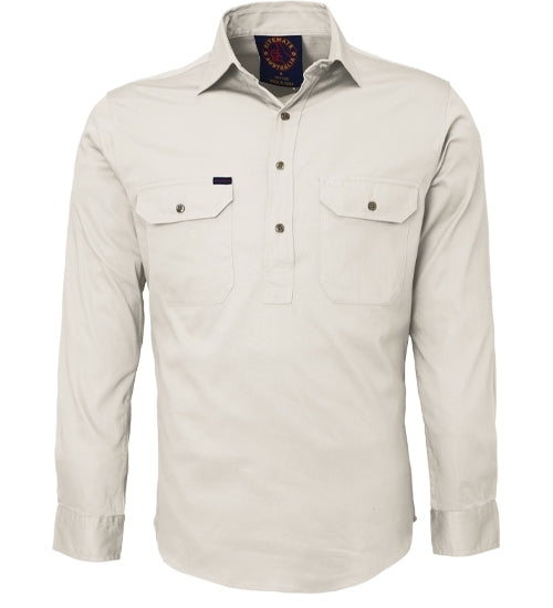 Ritemate | Mens | Work Shirt | Half Button | Long Sleeve | Stone