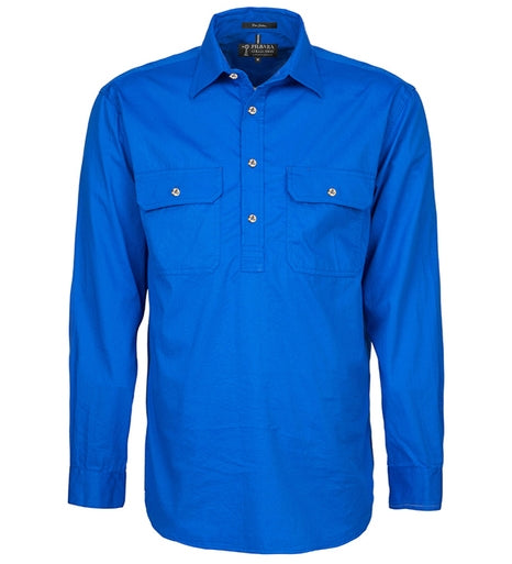 Ritemate | Mens | Work Shirt | Half Button | Long Sleeve | Cobalt Blue
