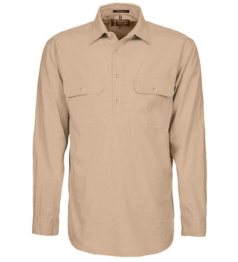 Ritemate | Mens | Work Shirt | Half Button | Long Sleeve | Clay