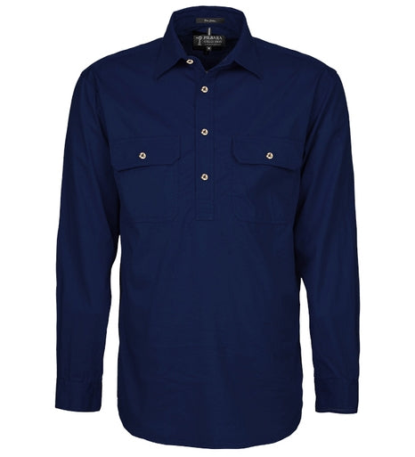 Ritemate | Mens | Work Shirt | Half Button | Long Sleeve | French Navy