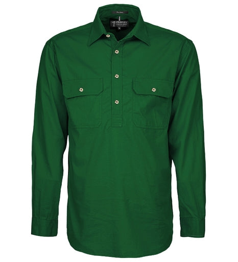 Ritemate | Mens | Work Shirt | HALF Button | Long Sleeve | Pilbara | Green