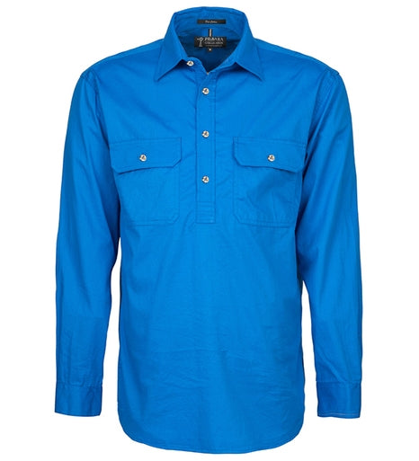 Ritemate | Mens | Work Shirt | Half Button | Long Sleeve | Light Blue
