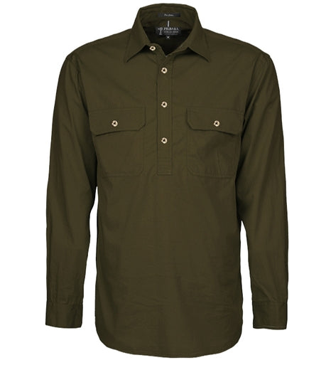 Ritemate | Mens | Work Shirt | HALF Button | Long Sleeve | Pilbara | Olive
