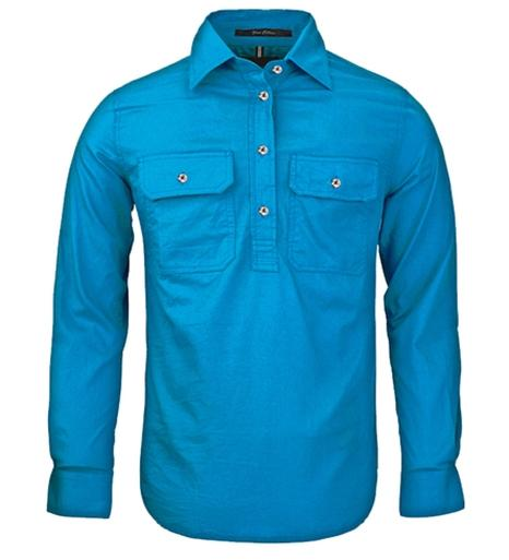 Ritemate | Womens | Work Shirt | Half Button | Long Sleeve | Azure