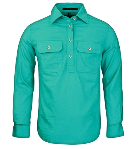 Ritemate | Womens | Work Shirt | Half Button | Long Sleeve | Jade