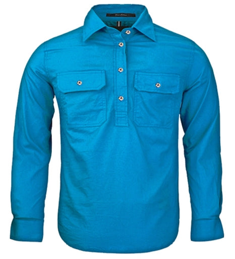 Ritemate | Kids | Work Shirt | HALF Button | Long Sleeve | Azure