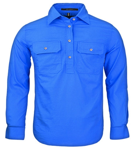 Ritemate | Kids | Work Shirt | Pilbara | HALF Button | Long Sleeve | Cobalt Blue