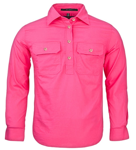 Ritemate | Kids | Work Shirt | HALF Button | Long Sleeve | Hot Pink