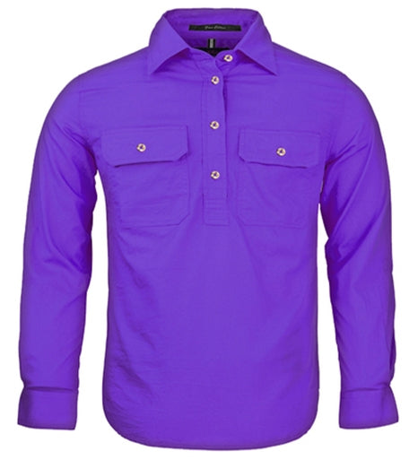 Ritemate | Kids | Work Shirt | Pilbara | HALF Button | Long Sleeve | Purple