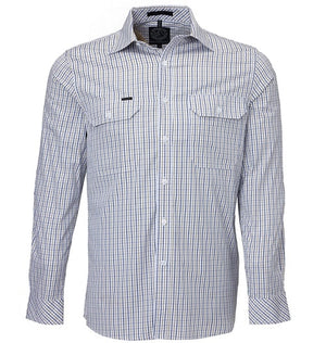 Ritemate | Mens | Shirt | Pilbara | Check | Safari Navy White