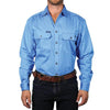 Ringers Western | Mens | Work Shirts | FULL Button | Long Sleeve | King River | Blue - BK8 Outfitters Australia