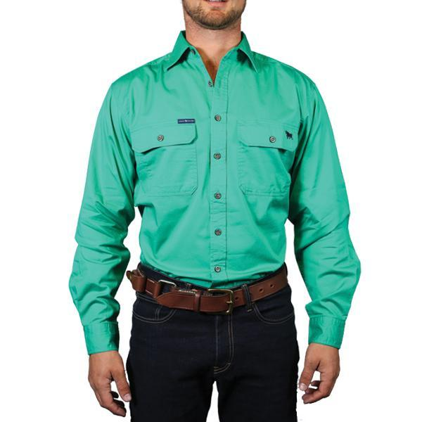 Ringers Western | Mens | Work Shirts | FULL Button | Long Sleeve | King River | Green - BK8 Outfitters Australia