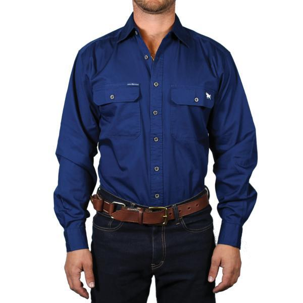 Ringers Western | Mens | Work Shirts | FULL Button | Long Sleeve | King River | Navy - BK8 Outfitters Australia