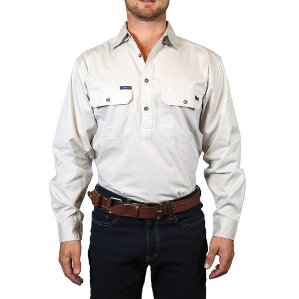 Ringers Western | Mens | Work Shirts | HALF Button | Long Sleeve | King River | Beige - BK8 Outfitters Australia