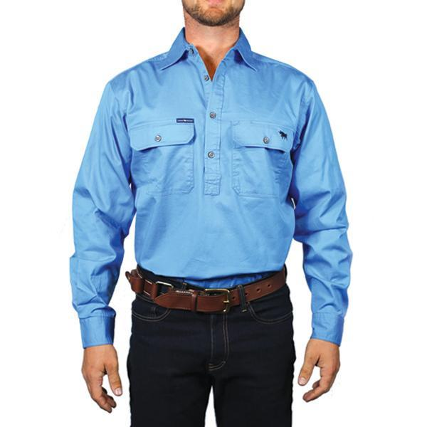 Ringers Western | Mens | Work Shirts | HALF Button | Long Sleeve | King River | Blue - BK8 Outfitters Australia