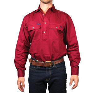 Ringers Western | Mens | Work Shirts | HALF Button | Long Sleeve | King River | Burgundy - BK8 Outfitters Australia