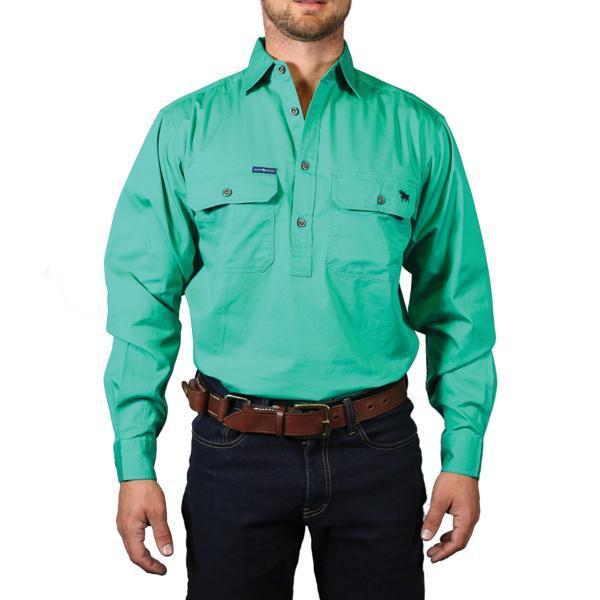 Ringers Western | Mens | Work Shirts | HALF Button | Long Sleeve | King River | Green - BK8 Outfitters Australia