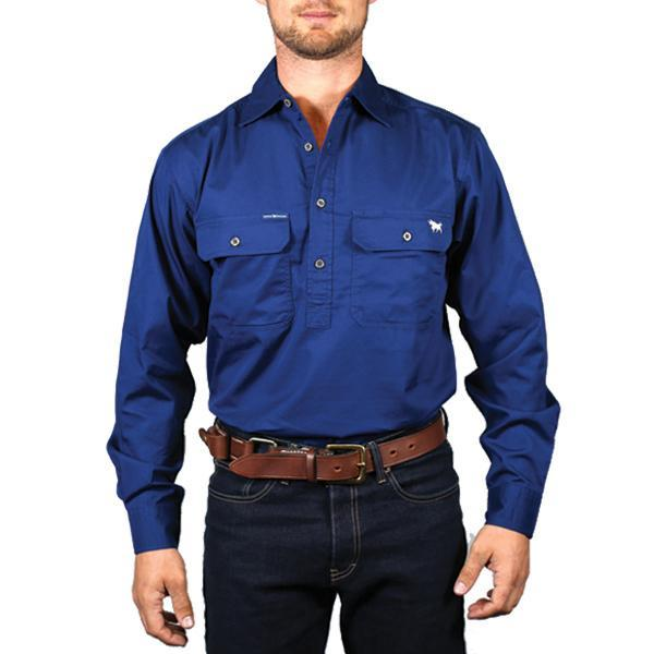 Ringers Western | Mens | Work Shirts | HALF Button | Long Sleeve | King River | Navy - BK8 Outfitters Australia