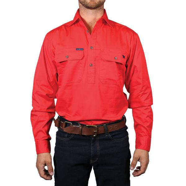 Ringers Western | Mens | Work Shirts | HALF Button | Long Sleeve | King River | Red - BK8 Outfitters Australia