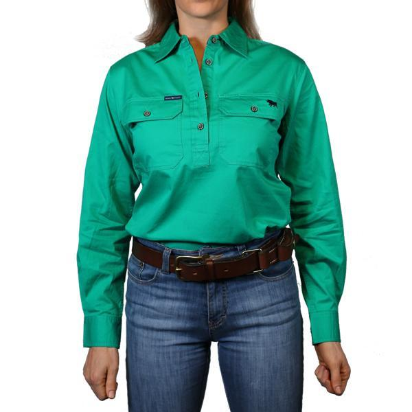 Ringers Western | Womens | Work Shirts | HALF Button | Long Sleeve | Pentecost | Green - BK8 Outfitters Australia