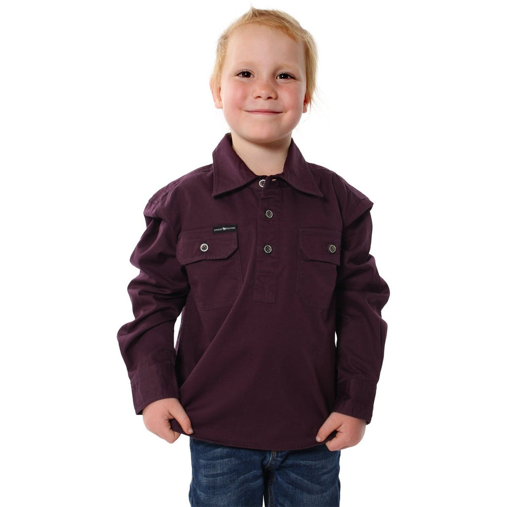Kids | Work Shirt | HALF Button | Long Sleeve | Ord | Aubergine