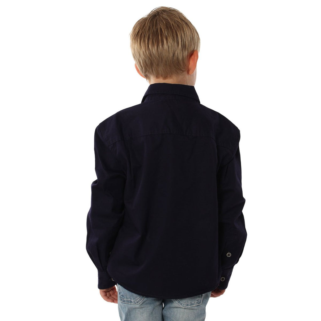 Kids | Work Shirt | HALF Button | Long Sleeve | Ord | Dark Navy