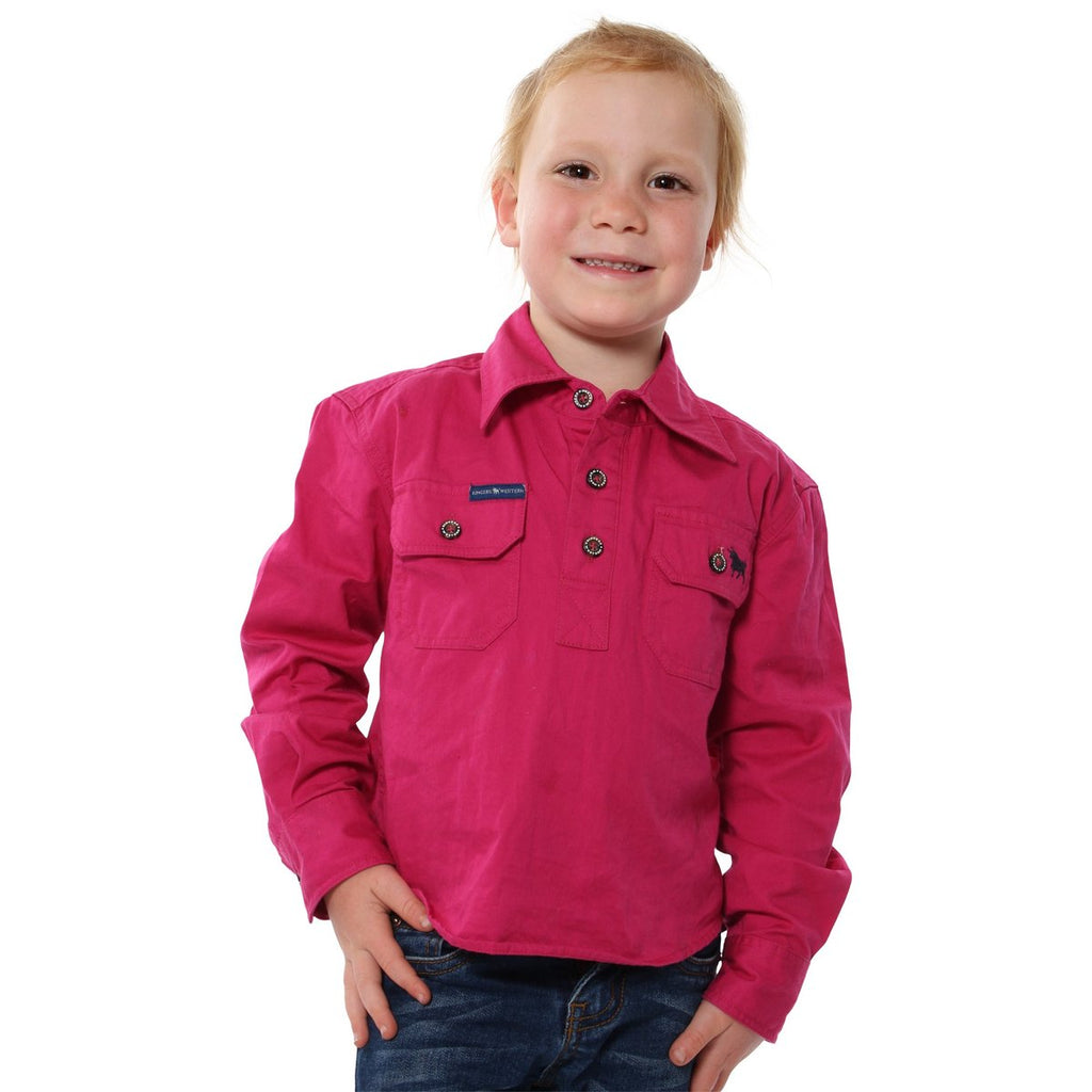 Ringers Western | Kids | Work Shirt | HALF Button | Long Sleeve | Ord | Magenta