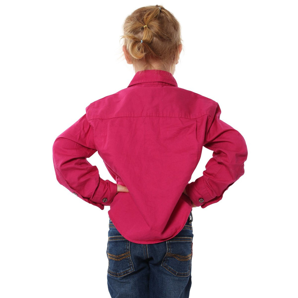 Kids | Work Shirt | HALF Button | Long Sleeve | Ord | Magenta